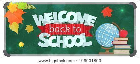 Blackboard with greeting, First of September, Back to school sale horizontal banner. Vector