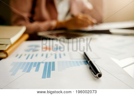 Business Concept With Copy Space. Office Desk Table With Glasses Focus And Analysis Chart Computer N