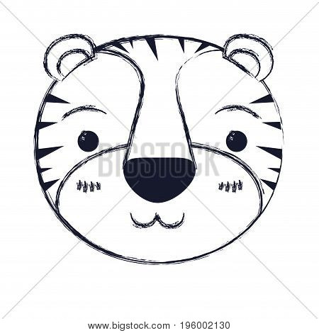 cute face of tiger happiness expression vector illustration