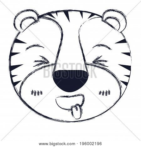 cute face of tiger sticking out tongue expression vector illustration