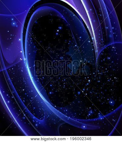 The human embryo in the vastness of space, vector art illustration.