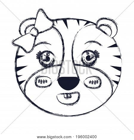face of female tigress animal with bow lace vector illustration