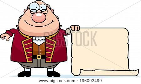Cartoon Ben Franklin Parchment