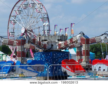 dallas,usa,19th july 2017. for many years, this local carnival has scheduled runs in the parking lot of a north dallas mall. the mall held a ground breaking earlier this month for a row of high rise towers along 635 lbj freeway.