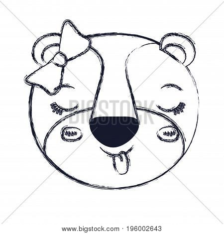 face female lioness animal sticking out tongue expression with bow lace vector illustration