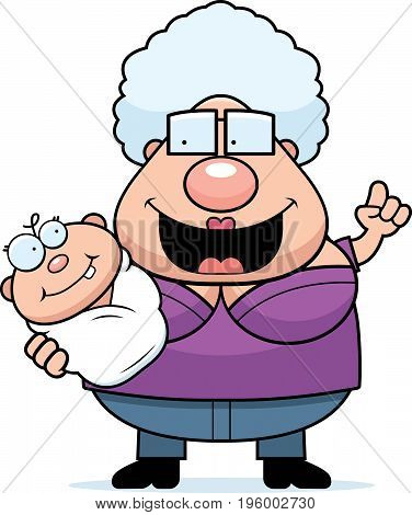 Cartoon Grandma Talking To Baby
