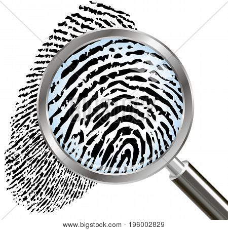 Fingerprints under the magnifying glass, vector art illustration.
