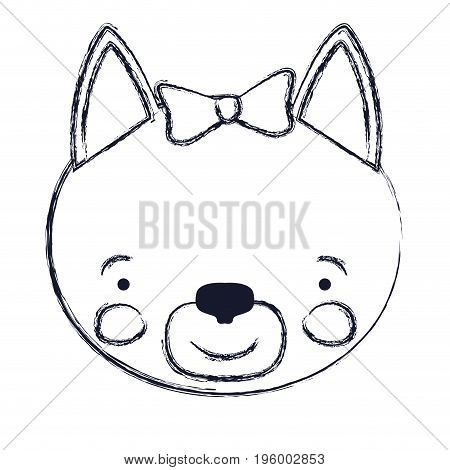 face of female cat animal happiness expression with bow lace vector illustration