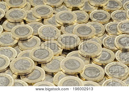Hoard Of Money. Scattered Pile Of British Pound Coins.
