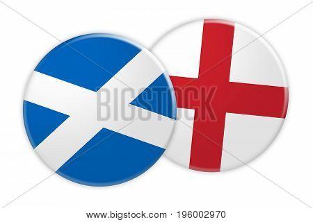 News Concept: Scotland Flag Button On England Flag Button 3d illustration on white background