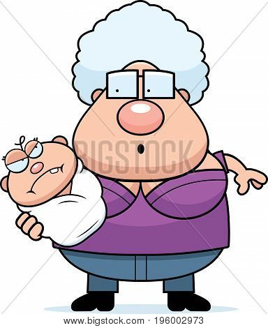 Cartoon Grandma With Angry Baby