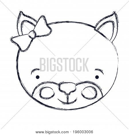 face of female kitten animal happiness expression with bow lace vector illustration