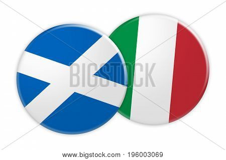 News Concept: Scotland Flag Button On Italy Flag Button 3d illustration on white background