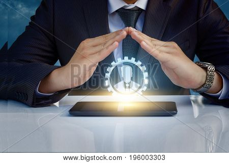 The Protective Gesture With Your Hands Good Worker.