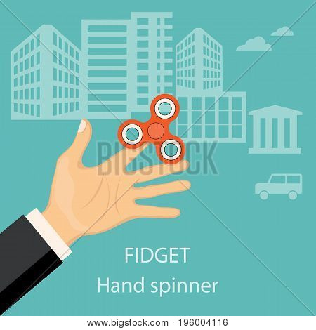 Flat modern design concept of playing with fidget hand spinner. Illustration of the hand of the businessman with hand spinner. eps 10.