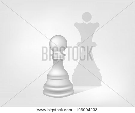 Pawn with shadow queen, vector art illustration concept Majesty.