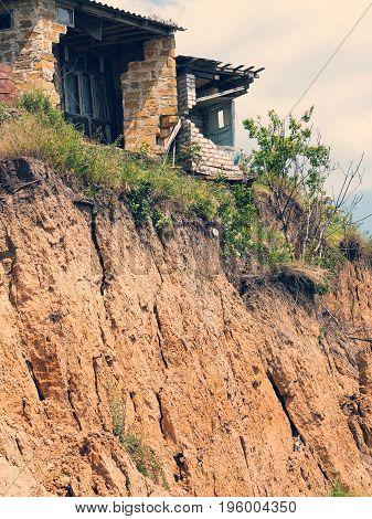 Landslide Caused By Torrential Rains Of Hurricane Christie. Broken Road Asphalt Cracked, And Came Do