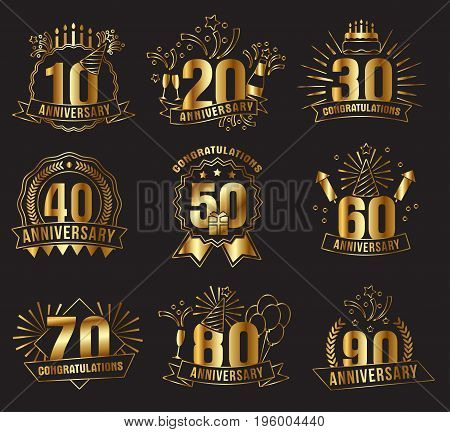 Anniversary golden numbers set. Festive compositions and greeting, with firework and stars for poster and card decor. Flat style vector illustration isolated on black background. Gold badges with ribbon