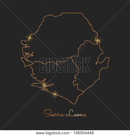 Sierra Leone Region Map: Golden Glitter Outline With Sparkling Stars On Dark Background. Detailed Ma