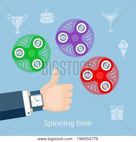 Flat modern design concept of playing with fidget hand spinner. Illustration of the hand of the businessman with three hand spinners. eps 10.