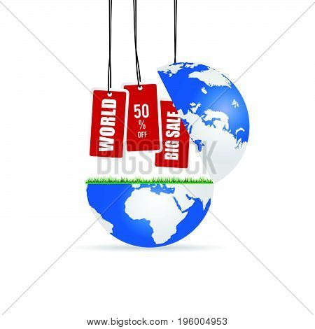 Globe With Big Sale Tag Illustration