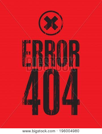 Vector banner with the inscription error 404 against the red backdrop