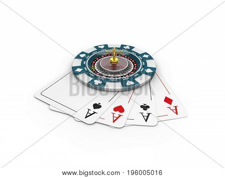 3D Illustration Of Casino Chips And Roulette On The Play Cards, Isolated White