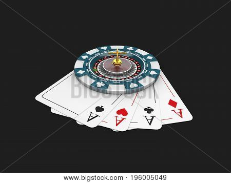 Casino Blue Chip And Roullette On The Play Card, Isolated Black 3D Illustration