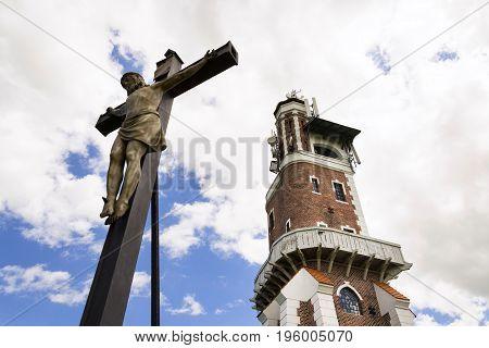 Crucifix with Schillers Lookout near Kryry Czech republic