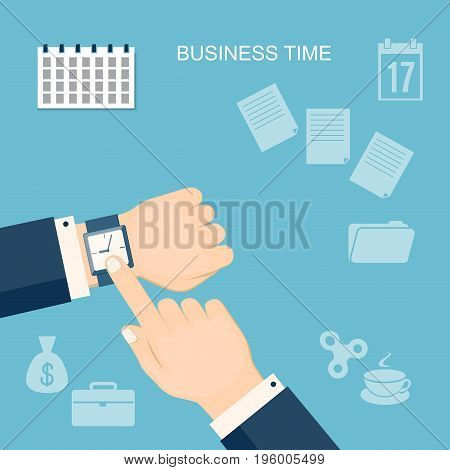 Flat modern design concept of business time payments time tax time banking with hands and finger showing at the wristwatch. EPS 10