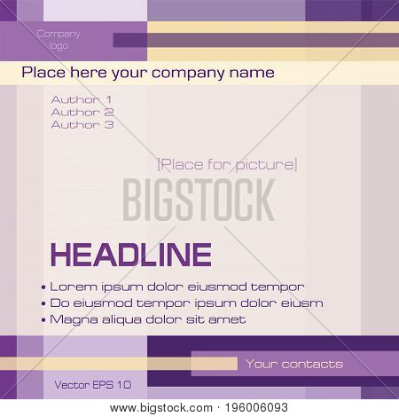 Geometric background, technology template, purple, yellow, square. Layout modern design with text for cover, magazine, brochure, prospectus, business presentation, poster. EPS10 vector illustration