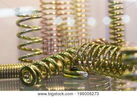 The group of suspension coil spring on the white background.Automotive part
