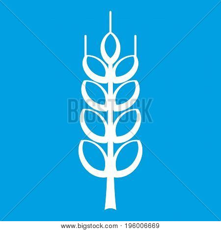 Ripe spike icon white isolated on blue background vector illustration