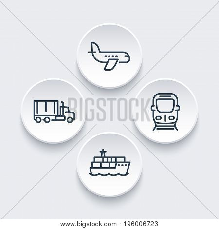 transportation industry icons in linear style, air transport, cargo ship, truck, train