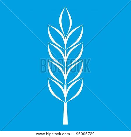 Wheat spike icon white isolated on blue background vector illustration