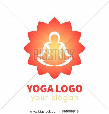 yoga logo template, outline of man meditating over lotus flower