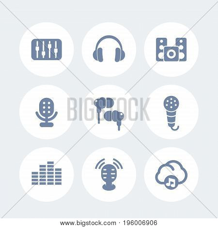 audio icons set, earbuds, headphones, microphones, speakers, equalizer, sound mixer