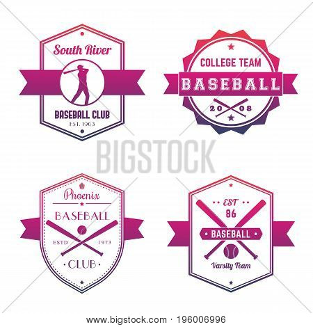 Baseball club, team logo, badges, emblems over white, eps 10 file, easy to edit