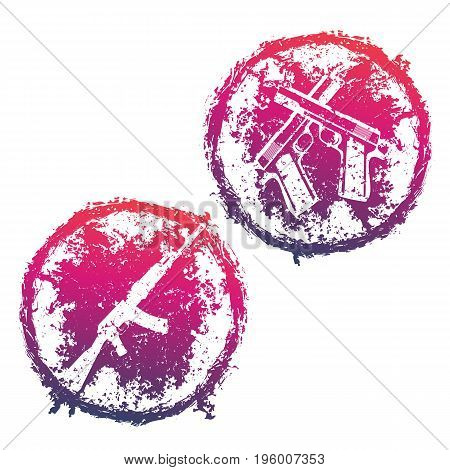 grunge round emblems, t-shirt prints with crossed pistols and assault rifle over white