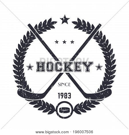 Hockey vintage emblem, logo with crossed sticks over white