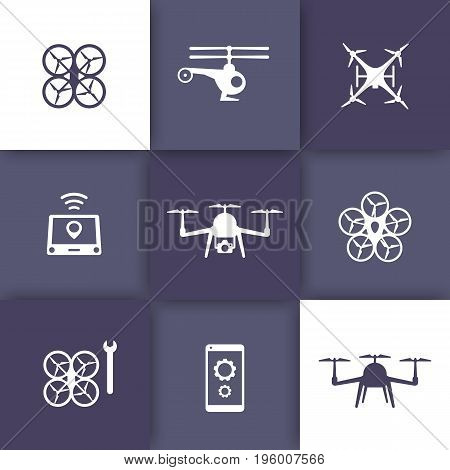Drones, quadrocopters, copters icons, eps 10 file, easy to edit