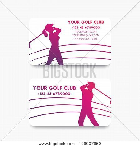 Business card design for golf club with golfers, eps 10 file, easy to edit