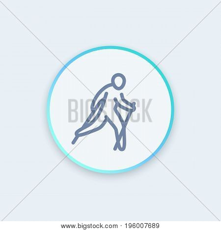 nordic walking icon in linear style, healthy lifestyle, outdoor activity