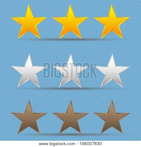 Set of gold bronze silver stars. Set of star winners