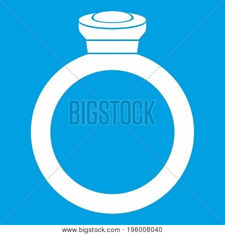 Ring icon white isolated on blue background vector illustration