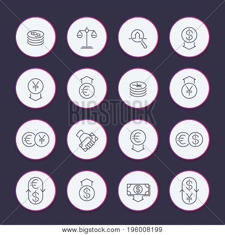 Currency line icons set, money transfer, coins, monetary policy, forex trading, foreign exchange