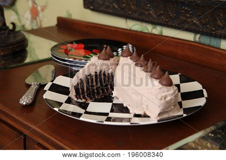 Chocolate Mousse Cake With Chocolate Kisses On top dessert