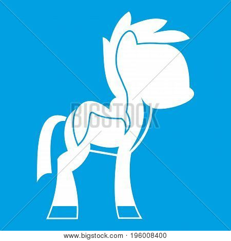 Little pony icon white isolated on blue background vector illustration