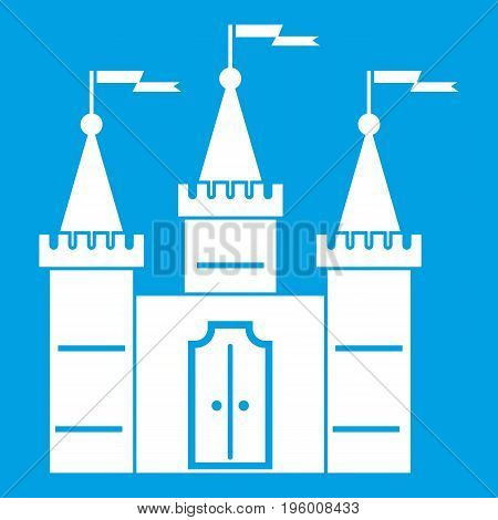 Castle icon white isolated on blue background vector illustration