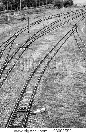 Railway tracks at the station Belgorod in Russia